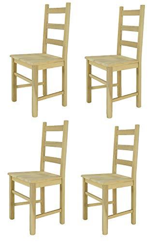 Tommychairs sillas de Design - Set 4 sillas clásicas Rustica para Cocina, Comedor, Bar y Restaurante, con solida Estructura en Madera de Haya lijada, no tratada, 100% Natural y Asiento en Madera