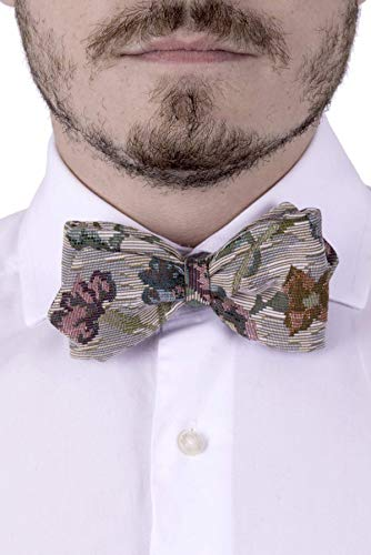 Papillon cravate pré noué pour Hommes et Garçon, Taille Réglable avec Crochet, Vert, Pétrole, Orange, Rose, Beige, Fleures, Gobelin, Coton