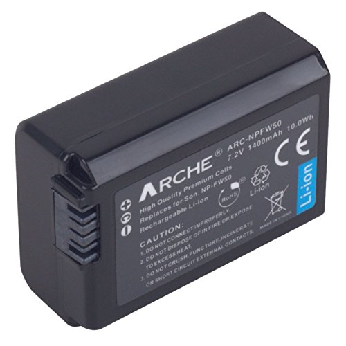 ARCHE NP-FW50 FW50  Replacement Battery for [Sony A7, A7S, A7SII, A7R, A7RII, A6000, A6500, A6300, A6000, A5100, A5000, A3000, NEX-5T, NEX-3N, Cyber-Shot DSC-FX10, DSC-RX10 III] -  BTR-FW50-1P