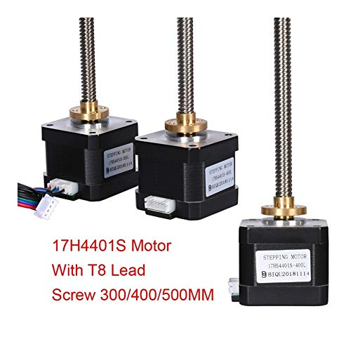 MZHE 17 Stepper Motor Screw 17H4401S 42 Motor T8 Lead Screw 300/400/500MM Nema 17 Motor+Copper Nut Lead 8MM For 3D Printer Parts Suitable for most printers, making your printer q