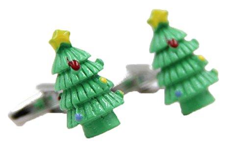 Gudeke Christmas Tree Shape Birthday Gift Cufflinks Mens Shirt Cuff link Arbre de Noël en forme de cadeau d'anniversaire Boutons de manchette
