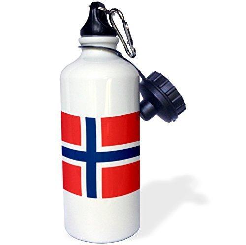 Cukudy Sport Water Fles Cadeau, Vlag Van Noorwegen Noors Rood Blauw Wit Scandinavische Scandinavische Nordic Cross Scandinavië Wereld Land Wit RVS Water Fles voor Vrouwen Mannen 21oz