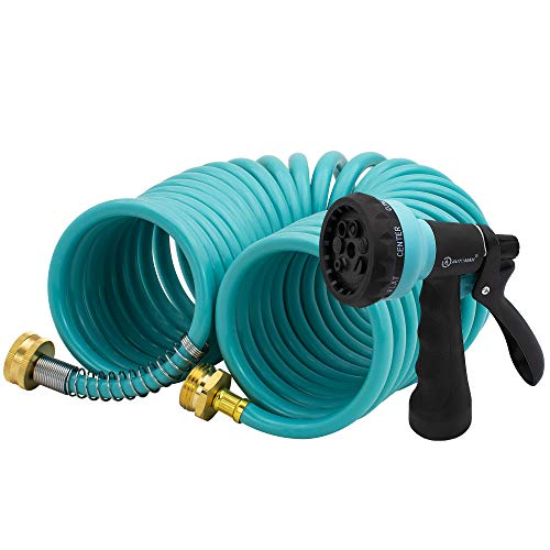 AUTOMAN EVA Recoil Garden Hose 25ft - Includes 7 Pattern Spray Nozzle,Curly Water Hose 25 Foot,Watering Hose Coil,Retractable,Corrosion Resistant Garden Coil Hose.