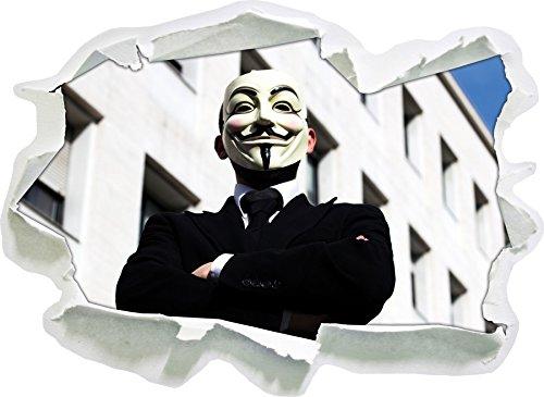 Stil.Zeit Anonymus Maske, Papier 3D-Wandsticker Format: 62x45 cm Wanddekoration 3D-Wandaufkleber Wandtattoo