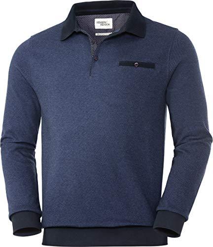 HENSON&HENSON Herren Polo-Pullover, Langarmhemd im Regular-fit Schnitt, Männer Pulli aus 100{80462ed8a1cf8891e44fade3fe34a5aae29d755eb1fe14f0a2b69ea5ce8645f2} Baumwolle, sportlich Elegantes Design, Gr. 48-60