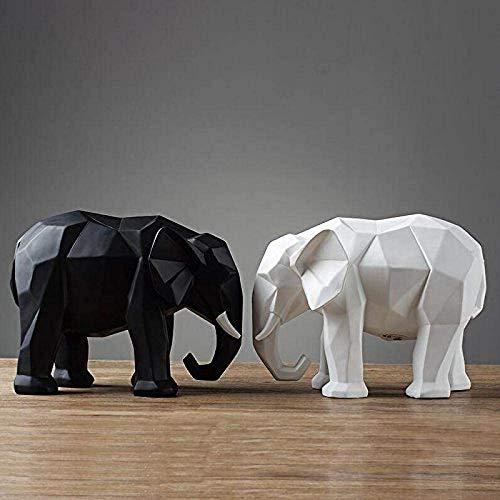 aipipl Escultura Adornos de Animales Artificiales Decoracin de jardn Geometra Creativa Resina Elefante Artesana Dormitorio Sala de Estar Mueble de televisin Oficina Hogar