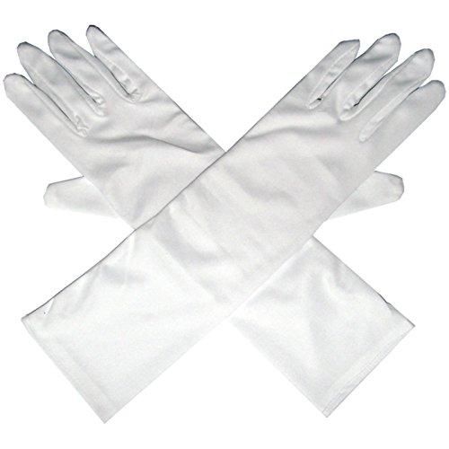 Unbekannt Lange Handschuhe für elegante Abendgarderobe Fasching Fingerhandschuhe Kostüme (Weiß)