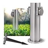 SSC-LUXon Juego de enchufes de jardín con columna de energía y estaca de aluminio inoxidable – Columna de enchufes exterior de acero inoxidable cepillado.