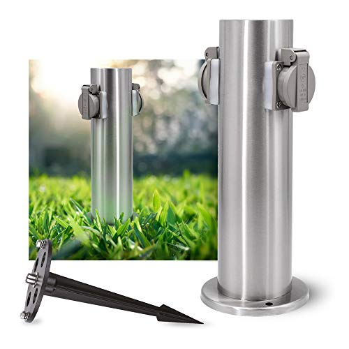 SSC-LUXon Set aus Gartensteckdose Energiesäule & rostfreiem Erdspieß Aluminium - Außen Steckdosensäule Edelstahl gebürstet
