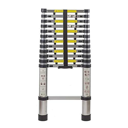 Multifunktionale Leiter 12.5 Ft Ausziehbare Teles Aluminium Tragbare Leiter mit Fingerschutz Abstandhalter, Teleskopleiter Werkzeug