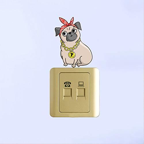 YCEOT Leuke Cartoon Hond Draag Gouden Kettingen Decor Schakelaar Muursticker Woonkamer Slaapkamer Gepersonaliseerd voor Kinderen