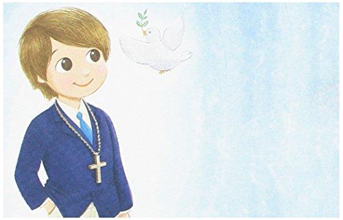 Mopec Estampa de Primera Comunión de niño con Americana Azul, Pack de 25 Unidades, Cartulina, Multicolor, 0.02x8.00x12.50 cm
