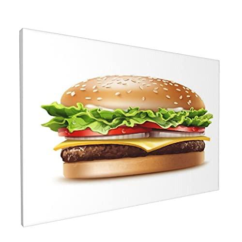 PATINISA Cuadro en Lienzo,Tema de comida Hamburguesa americana con queso y lechuga Tomate Cebolla Queso Carne de res y salsa,Impresión Artística Imagen Gráfica Decoracion de Pared