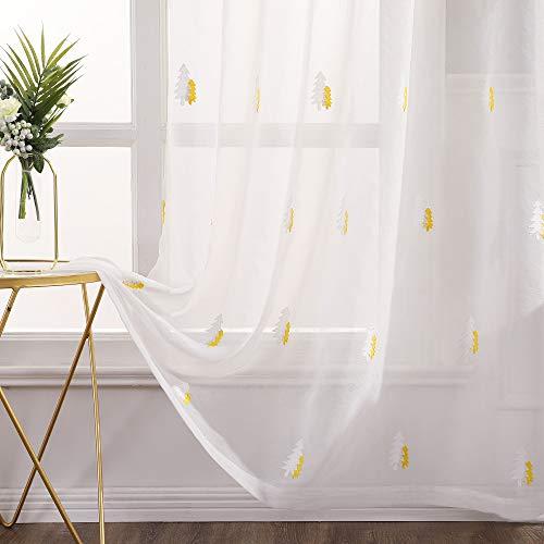 MIULEE Sheer Vorhang Voile Weihnachtsbaum Stickerei Vorhänge mit Ösen transparent Gardine 2 Stücke Ösenvorhang Gaze schals Fensterschal für Wohnzimmer Schlafzimmer 245 cm x 140 cm(H x B)