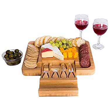 Bamboo Cheese Board with Cutlery Knife Set – Rectangle Wooden Server has Extra Serving Space on Edges for Crackers – Accessories Drawer Holds Small Cutting Knives and Spreader Tools with Wood Handle