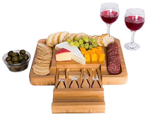 Bamboo Cheese Board with Cutlery Knife Set - Rectangle Wooden Server has Extra Serving Space on Edges for Crackers -...