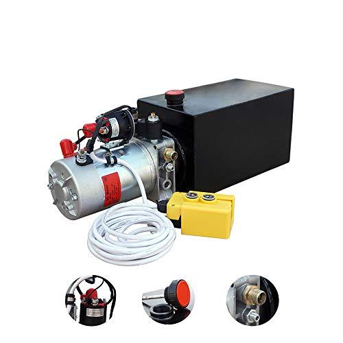 Hydraulikpumpe 10L Doppel - Rolle Wirkend Hydraulikaggregat 12V DC Kunststofftank Hydraulikpumpeneinheit mit Remoter f¨¹r Dump Trailer (10L Kunststoff Einfachwirkend)