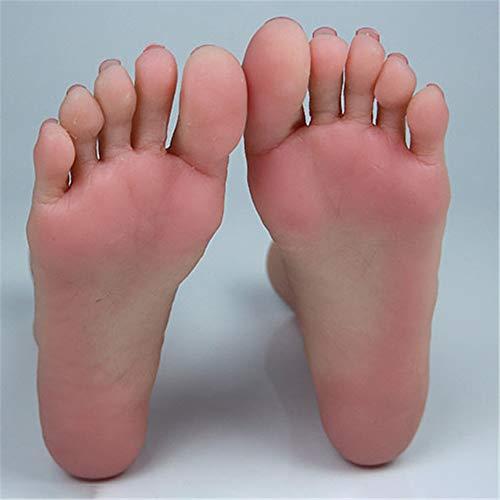 YH-foot Silikon Füße Modell, Strumpf Socken Fußkettchen Display Fuß Silikon Art Practice Jewelry Schuhsocken-Display Mit Nagel(1 Paar)