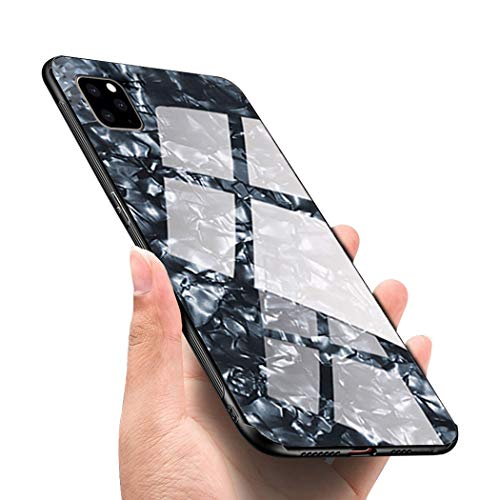 Luhuanx Case Compatible with iPhone 11 Pro,Tempered Glass with Conch Shell Pattern Back + TPU Frame Hybrid Shell Slim Case for iPhone 11 Pro in 5.8 inch,Anti-Scratch (Drop) 2019 case