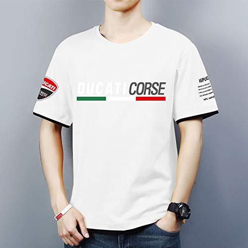 Camisetas de Cuello Redondo para Hombre Impresión 3D de Ducati Corse Camisetas Casuales de Verano para Hombre Tops cómodos de Manga Corta - Regalo para Adolescentes,Blanco,3XL