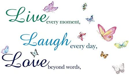 Family Inspirational Quotes Vinyl Wall Decal Stickers Live Every Moment Laugh Every Day Love product image