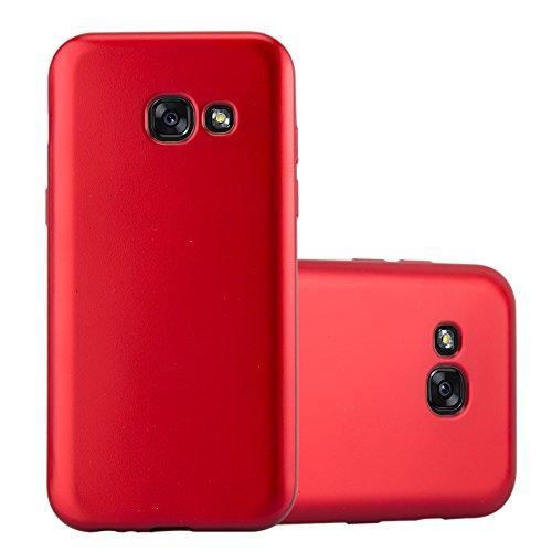 Preisvergleich Produktbild Cadorabo Hülle für Samsung Galaxy A3 2017 in METALLIC ROT - Handyhülle aus flexiblem TPU Silikon - Silikonhülle Schutzhülle Ultra Slim Soft Back Cover Case Bumper