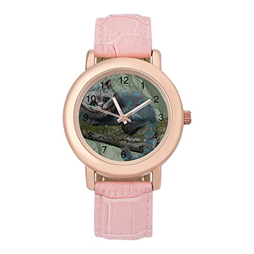 Alice in WonderlandSeñoras reloj de cuarzo de cuero con correa 2266 espejo de cristal redondo rosa accesorios casuales moda temperamento 1.5 pulgadas