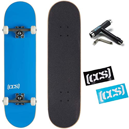 CCS Logo and Natural Wood Skateboard Completes - Fully Assembled (Blue, 7.75)