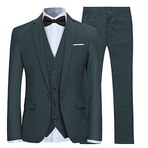 Anzug Herren Slim Fit 3 Teilig Anzüge Modern Herrenanzug 3-Teilig Sakko Hose Weste für Business Hochzeit Grün Large