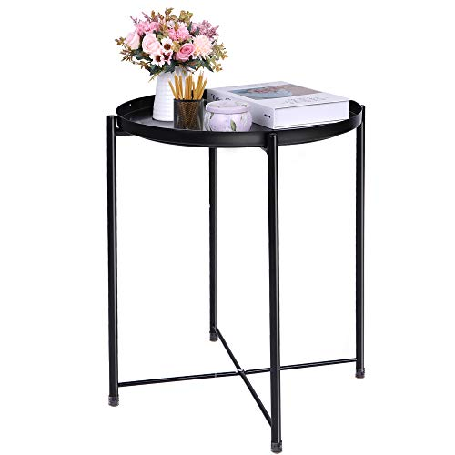 End Table Black Side Table Round Table Small Metal Table Patio Side Table for Small Spaces Removable Tray End Table for Outdoor and Indoor Fit Sofa Living Room Bedroom Coffee Table Bedside Nightstands