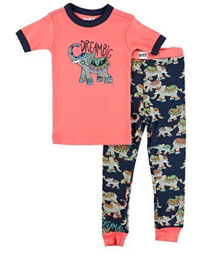Lazy One Short-Sleeve Pajamas Sets for Girls and Boys, Kids' Soft Animal PJs (Dream Big Elephant, 10)