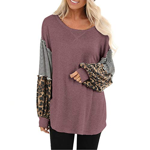 Best Review Of Mlide Womens Long Seelve Round Blouse S-XXL Plus Size Leopard Lantern Sleeve Casual L...