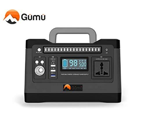 GÜMÜ 500W- Generador Solar portátil,500Wh Estación de Almacenamiento Recargable, con 300W de Onda sinusoidal Pura CA, 12V DC, 12V de automóvil, Carga Rápida USB/Tipo-C para Campamento, Emergencia
