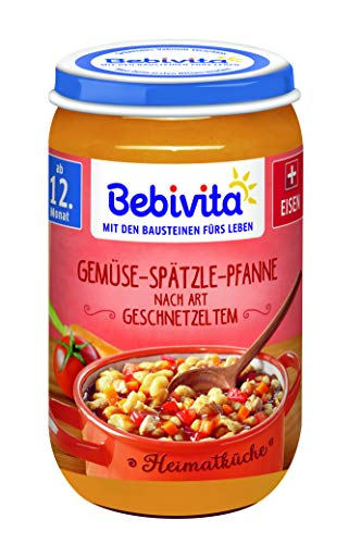 Bebivita Heimatküche ab 12. Monat Gemüse-Spätzle Pfanne nach Art Geschnetzeltem, 6er Pack (6 x 250 g)