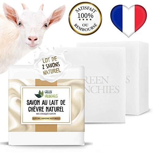 G.F. Jabón de leche de cabra, lote de 2 jabones extra suaves con leche de cabra, jabón natural hidratante con leche de cabra, cara y cuerpo