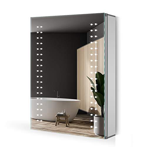 Quavikey® LED Spiegelschrank 50x70cm Badezimmer Spiegelschrank Aluminium mit LED Beleuchtung Antibeschlag Rasier Steckdose IR-Sensor Schalter Soft-Close-Funktion Kaltweiss