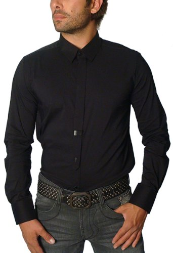 "Faith Connexion - ""Brook Dress Shirt with Tie and Leather Accents (Large) Black"