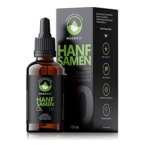 MAGAMED PREMIUM ÖL   Hanfsamenöl extra wirkungsvoll   10ml - 250 Topfen 10 Prozent Terpen-Konzentration   vegan und hochdosiert