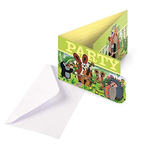 Amscan 9902928 - Einladungskarten Der kleine Maulwurf, 8 Stück, Größe 8 x 14,1 cm, Karten mit weißen Umschlägen, Einladung, Party, Little Mole, Geburtstag, Kindergeburtstag, Mottoparty