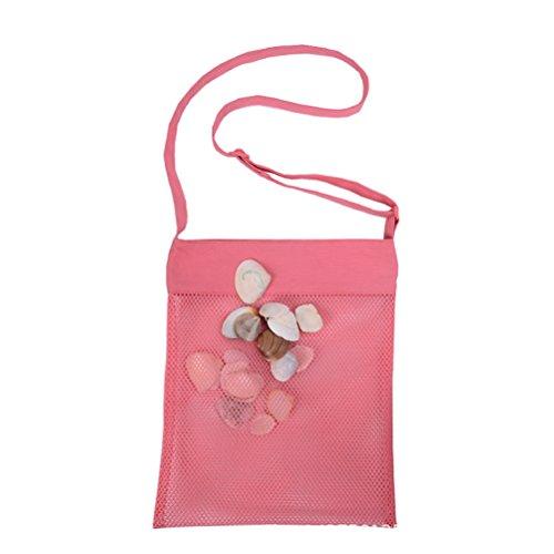 VORCOOL Strandtasche Mesh Tote Bag Seashell Sammeln Sand Spielzeug Shell Bag Schultertasche Leichte Aufbewahrungstasche für Kinder Kinder Frauen Männer Spielen (Pink)