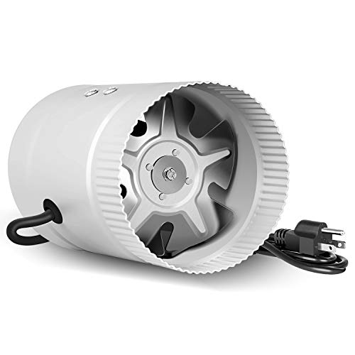 iPower Silent 4 inch Booster Fan 90CFM Quiet Inline Duct HVAC Exhaust Vent Blower, Low Noise, 4', Silver