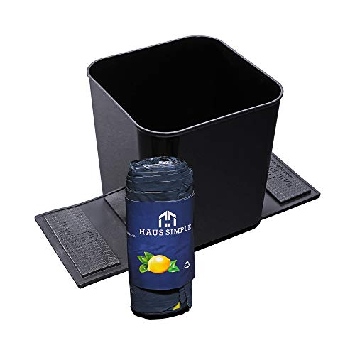 HAUSSIMPLE Car Trash Can Garbage Bin Plastic Storage Organizer Auto Wastebasket with Stability Flaps 1.4 Gallon + 20 Drawstring Trash Bags 7.5 x 7.3 in (Black)