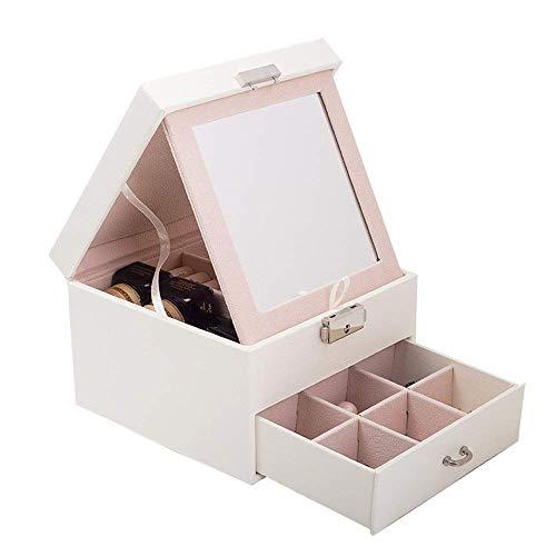 Joyery Organizer caja Caja de joyería de cuero Tres cajón de joyería de dos cajones Caja de almacenamiento de joyas de la princesa para niñas Madre Mujeres (Color: Blanco, Tamaño: 16x16x11.2cm) wangYU