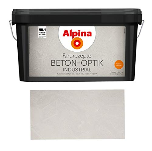 Alpina Farbrezepte Beton-Optik Industrial, Struktur-Farbe für cooles Beton-Design, Hellgrau