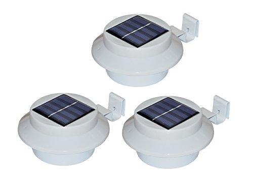 Solar Dachrinnen-Leuchte / 3-er Set/Schwarz oder Weiß/kabellos/Dachrinnenbeleuchtung (Weiß)