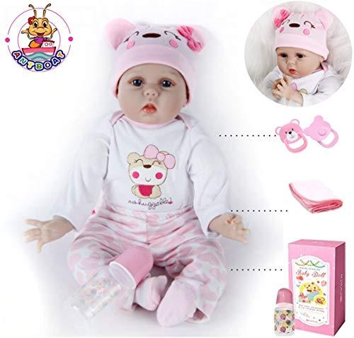 antboat 22 Zoll 55cm Reborn Babys Mädchen Silikon Vinyl Lebensechte Reborn Babypuppen Günstig Reborn Toddler Magnetisches Spielzeug