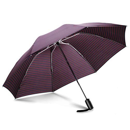 Leebotree Winddicht Regenschirm, Umgekehrter/Reversion Taschenschirm mit einhändiger Auf-Zu-Automatik, Schirmdurch aus robusten 210T Stoff, Teflon-Beschichtung, Leicht zutragen, Kompakt (Streifen)