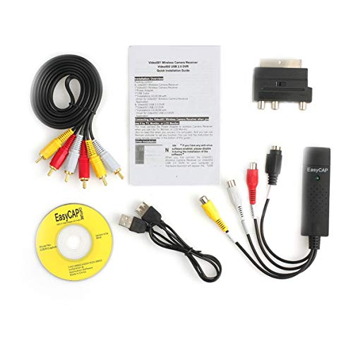 ACEHE Dispositivo de Captura de Video USB, práctico convertidor de USB 2.0 VHS a DVD, Kit de Captura de Video y Audio, Cable Scart RCA para Win10 de Alto Rendimiento