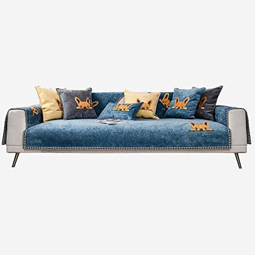 Sofá Modular Sofa Covers Sofá Bordado de Cachorro Sofá Funda,Cubiertas de sofá Lindos para Sala de Estar,Chenilla Delgada,Ahorro de sofá para Tela/sofá de Cuero-Azul_70 * 120cm
