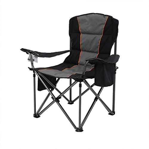 CAMPING WORLD Oversized Folding Camping Chair Padded Arm Camping Chair with Cup Holders and High Back Support for Heavy People and Adults, Support 450lbs